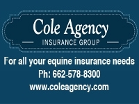 Graphic of the Cole Agency Insurance Group Logo and contact information for insuring horses, cows, and dogs